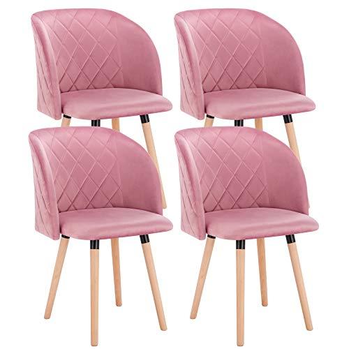 EUGAD 0303BY-4 4X Esszimmerstühle Wohnzimmerstuhl Polsterstuhl Küchenstuhl mit Beine aus Massivholz, Retro Design, Samt, Rosa