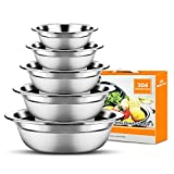 Stainless Steel Mixing Bowls Set of 5, Nesting Stackable Bowls for Space Saving Storage, Mixing Bowl...