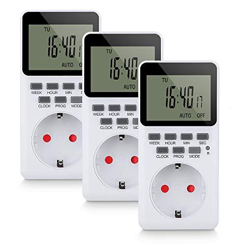 Komake Temporizador Digital Programable, Enchufe con 20 Programas Semanales Configurables, Pantalla LCD HD(3 Packs)
