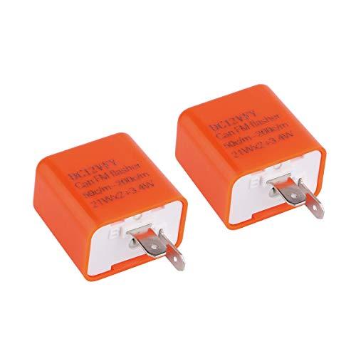 Yeeco 2PCS 2 Pin Turn Signal Flasher Adjustable 12V LED Motorcycle Flasher Relay Turn Signal Indicator Fix for Turn Signal Light Bulbs Turn Signal Hyper Flash