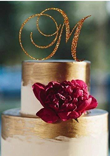Monogram Cake Topper Custom Initial Wedding Cake Topper Personalized Letter Cake Decor Rose Gold Silver Glitter Sweetheart Centerpiece Elegance Birthday Decorations