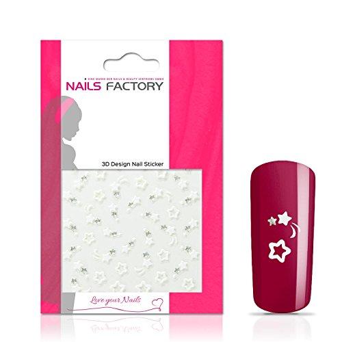 N&BF Nail Art Nagelsticker White Beauty Stars | Sterne Nagelaufkleber Weiss | Sticker für Kunstnägel und Naturnägel | 3D Nageltattoos für Nageldesign mit Gel, Acryl & Nagellack