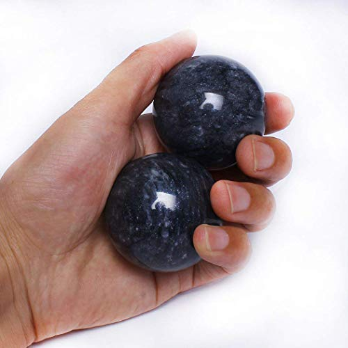 "2"" Marble Health Stress Exercise Baoding Balls Black Grey Craft Collection BS002"