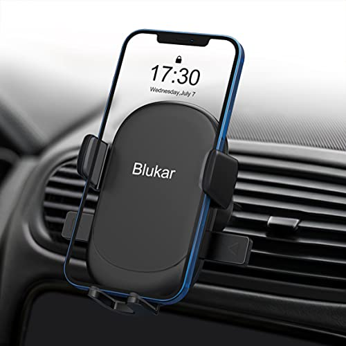 Blukar Soporte Móvil Coche, Universal Soporte Teléfono Coche para Rejilla del Aire Ventilación, 360° Rotación/Lanzamiento de una Tecla para iPhone 12/11 y Otros Dispositivos de 4-6.7 Pulgadas