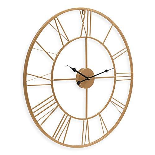 PHOTOLINI Wanduhr Gold Antik 60 cm Durchmesser Römische Ziffern ohne Tickgeräusche | Metall-Wanduhr Groß XXL