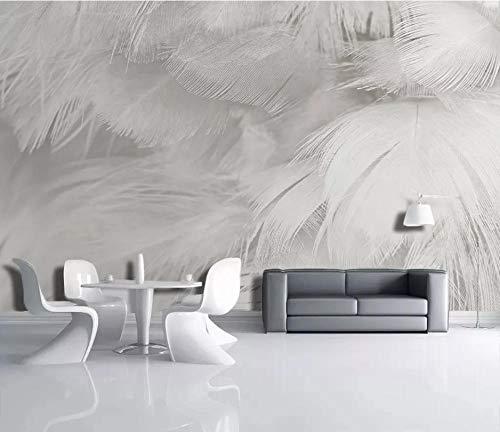 3D Diy Wandtapete Tapete Weiße Federn Der Modernen Mode Einfach Für Schlafzimmermoderne Wanddeko (W)250X(H)175Cm Silk Cloth