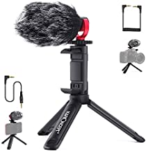 K&F Concept Universal Video Microphone Kit with Shock Mount, Desktop Tripod, Phone Stand, External Shotgun Mic Compatible with Smartphone,DSLR Cameras, Camcorders for Vlog Recording YouTube Interview