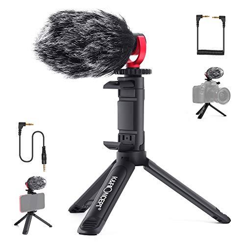 K&F Concept CM600 Microfono Direzionale,Microfono Video-Reflex con Mini Treppiede e Clip Telefono,Microfono Kit per Fotocamera, PC,TikTok,Youtube,Vlog,Jack da 3.5MM