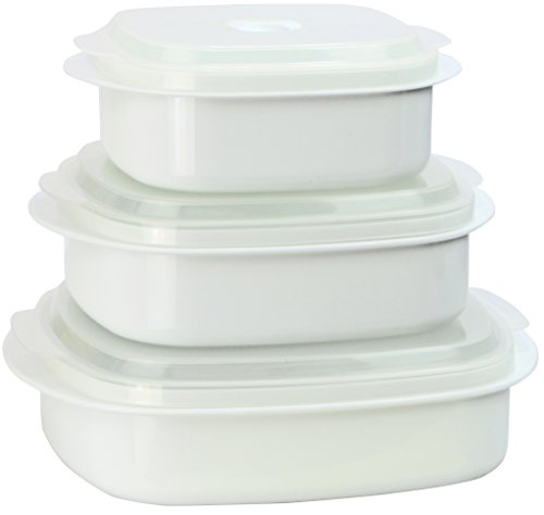 Calypso Basics by Reston Lloyd 6-Piece Microwave Cookware, Steamer and Storage Set, White