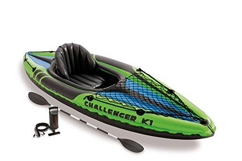 Oldzon Challenger K1 - Kayak hinchable para 1 persona, incluye remos y bomba con libro electrónico