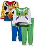 Disney Boys' Toddler Girls' Toy Story 4-Piece Cotton Pajama Set, Buzz and Woody W/Ls, 3T