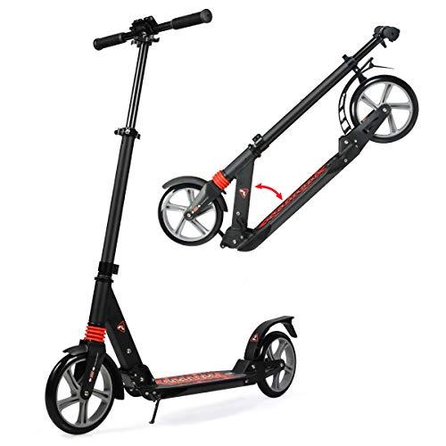 MOTORAUX Kickscooter Wheel Scooter - City Scooter, Klappbarer City-Roller, höhenverstellbar, Tret-Roller für Erwachsene und Kinder,schwarz