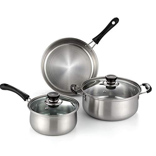 TOSBTD 3-delige keukenpannenset, 410 roestvrij stalen inductie - 1 melkpot + 1 sauspan + 1 braadpan (2 glazen deksels)