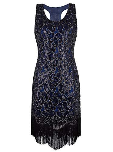 VIJIV 1920s Gastby Sequined Embellished Fringed Paisley Flapper Dress Blue S