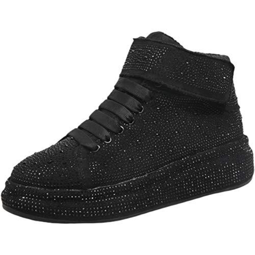Zapatos Casuales para Mujer cómodos Transpirables con Cordones Plataforma Zapatillas de Cristal Zapatillas Deportivas Ligeras para Caminar para Mujer