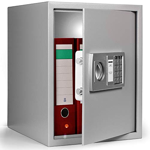 Deuba XXL Tresor Elektronik Zahlenschloss 35x40x40cm inkl. Innenbeleuchtung Doppelbolzen Safe Möbeltresor Silber