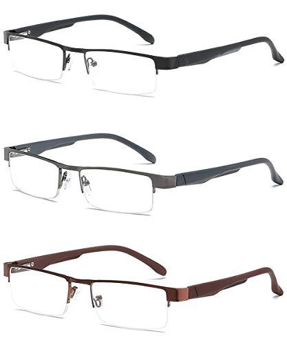 VEVESMUNDO Lesebrillen Herren Damen Klassische Metall Halbrandbrille Lesehilfe Federschaniere Klar Brille Augenoptik Vintage Sehhilfe Arbeitsplatzbrille Sehstärke (3 Lesebrillen, 1.0)