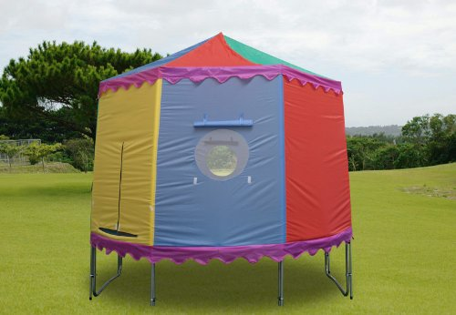 8 Ft Trampoline Tent with 6 Poles - Circular Circus Style & Fits Over Existing Trampoline Enclosure
