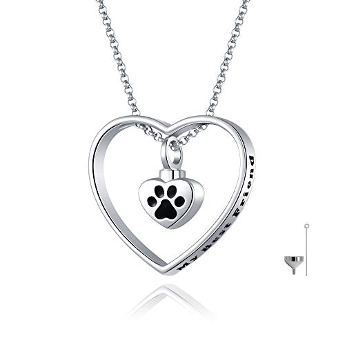 JXJL Heart Cremation Urn Necklace for Pet/Dog/Cat Ashes Keepsake Memorial Jewelry Paw Print Urn Pendant Necklace