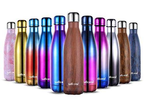 willceal Stainless Steel Double Wall Vacuum Insulated Water Bottles 500ml, Leak Proof Keep Cold and Hot Drinks Bottle for Outdoor Sports Camping (Red Wood)
