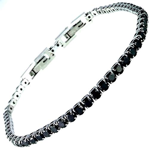 Bracciale tennis nero spessore 3 MM cristalli SWAROVSKI in acciaio inox Lavorato a mano Made in Italy
