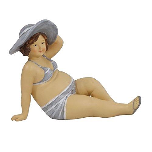 Frau im Bikini mit Hut Mollige Dicke Dame Lady Rubens Deko Retro Figur Badeanzug