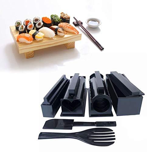 Juego de herramientas para sushi, kit para hacer sushi, DIY, en forma de corazón, redondo, cuadrado, molde para arroz, hecho en casa, fácil de hacer, herramienta de rollo de sushi, 10 piezas