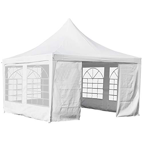 Outsunny 3.6 x 3.6m Garden Gazebo Marquee Party Tent Wedding Canopy Outdoor Heavy Duty Metal Frame - White