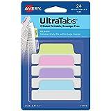 Avery 74769 Ultra Tabs, 2.5 x 1 Inch, 2-Side Writable, Pastel Blue/Pink/Purple/Green, 24 Repositionable Margin Tabs