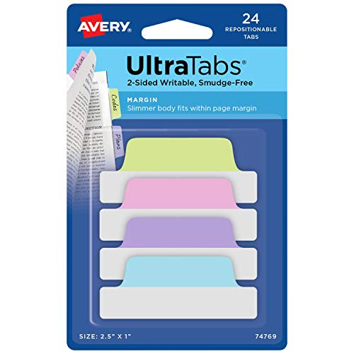 Avery Margin Ultra Tabs, 2.5 x 1, 2-Side Writable, Assorted Pastel Color, 24 Repositionable Tabs (74769)