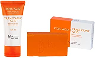Belo Essentials Kojic Acid and Tranexamic Acid Glutathione Skin Whitening Bleaching Soap for Face and Body 65g With Intensive Whitening Body Cream with Spf 30 Set