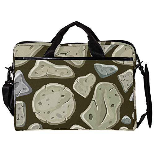 Unisex Computer Tablet Satchel Bag,Lightweight Laptop Bag,Canvas Travel Bag,13.4-14.5Inch with Buckles Old Gray Stone Wall