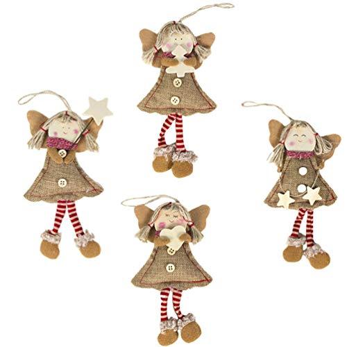 EXCEART 4Pcs Árbol de Navidad Muñeca Colgante Vintage Tela Arte Ángulo Muñeca Colgante Adorno Niños Juguete Regalo Bolsa de Relleno para Navidad Decoración Festiva Patrón Mixto