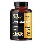 3Flow Solutions Omega 3-6-9 1000mg PureFlow Paquete de 1 x 90 Cápsulas - Aceite de Pescado - EPA - DHA - Aceite de Semilla de Lino - ALA Alfa-Linolénico - Vitamina E - Ácidos Grasos