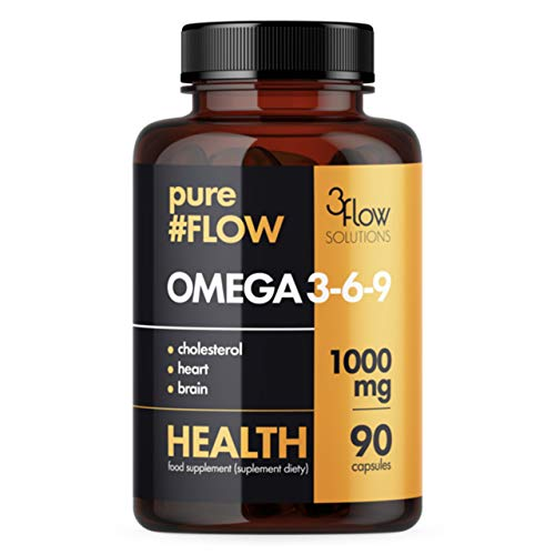 3Flow Solutions Omega 3-6-9 1000mg PureFlow Package of 1 x 90 Capsules - Fish Oil – EPA - DHA - Flax Seed Oil - Alpha-Linolenic ALA - Sunflower Seed Oil - Vitamin E - Fatty Acids