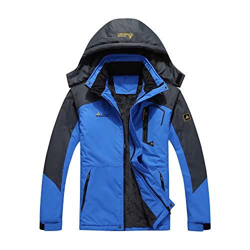 Lixada Herren Winterjacke, Wasserabweisende & windundurchlässige Softshell Jacke mit Verdicktem Samt Innen, wärmende Outdoor Sports Mantel mit 3 Reißverschlusstaschen & 2 Innentaschen
