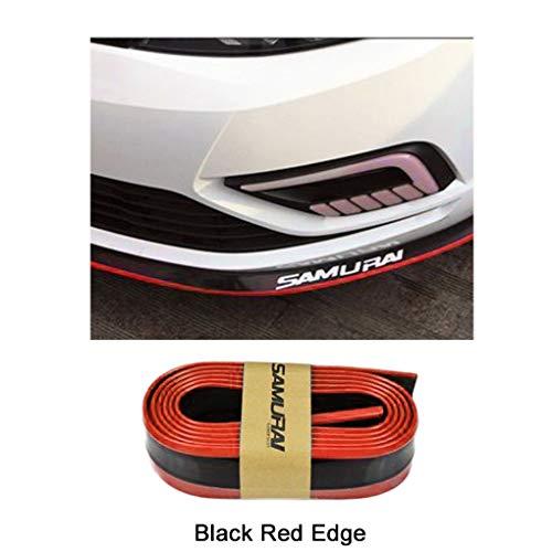 Demino Frontstoßstange Cover Universal-Auto-Frontlippenschutz gebogen, können Sie eng Schutz Flexible Frontlippe Schutz Frontladekanten Frontstoßfänger Auto Schutzgummibügel 2.5m Schwarz Rot