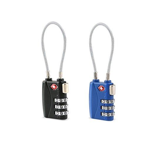 Tinksky 2pcs TSA approvato serrature lucchetti lucchetto a combinazione a 3 cifre bagagli serrature in diversi colori (nero blu)