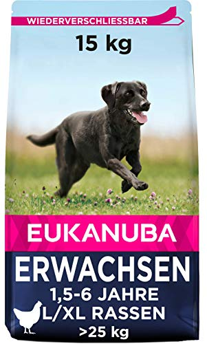 Eukanuba Adult Trockenfutter für große Hunde mit frischem Huhn, 15kg