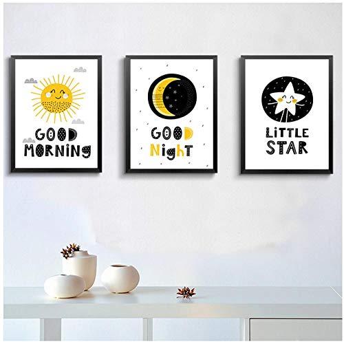 QYH Nordique Dessin Animé Soleil Lune Étoiles Bon Matin Bonne Nuit Enfants Chambre Toile Peinture Imprimer Affiche Photo Mur Décoration de La Maison-30X40 CM Pas de Cadre