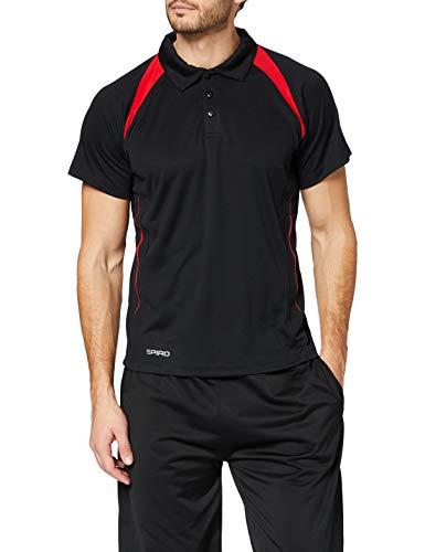 Spiro Team Spirit Polo Herren Poloshirt , Schwarz (Black/Red 154) , XXXX-Large