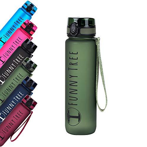 Funny Tree® Trinkflasche aus Tritan. 1000ml Olive Tree. Water Bottle BPA frei und auslaufsicher! Ideal als Sportflasche, Wasserflasche und beim Wellness, oder auf All deinen Outdoor Aktivitäten
