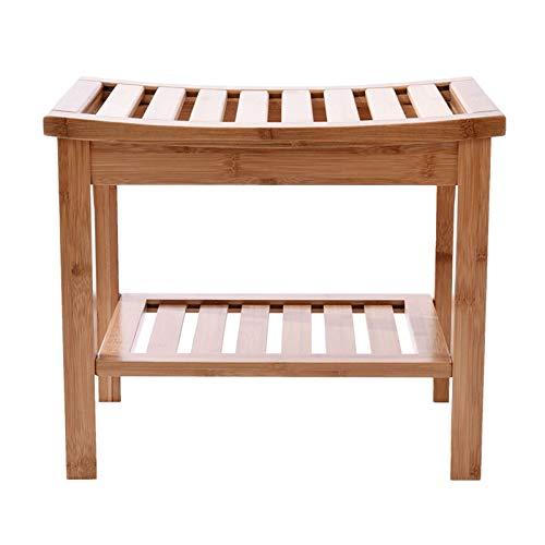 Duschbank Hocker mit Regal, rutschfeste Bambus Spa Sauna Badezimmer Dekor, Holz Sitzbank für Den Innen o Außenbereich