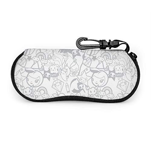 Beauty Girl Star Gafas de sol con hebilla de bloqueo Bolsa suave Tela de buceo ultraligera Estuche para gafas con cremallera