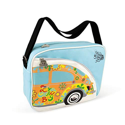 BRISA VW Collection - Volkswagen Escarabajo Coche Beetle Bolso de hombro de polipiel (PU), Bolsa bandolera Vintage, Accesorio de moda para Viaje/Regalo/Souvenir (Flores/Azul)