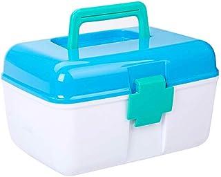 Household Medicine Box Plastic Two-Layer Small Portable Emergency Medicine Storage Box Annacboy (Color : Blue)
