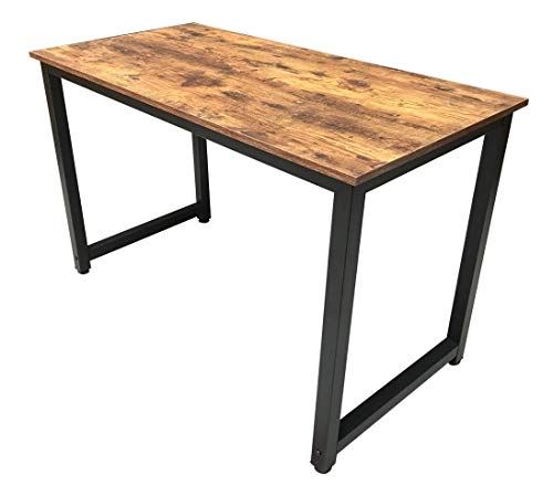 Millhouse Computer Desk Office Study Desk Computer PC Laptop Table Workstation Dining Gaming Table for Home Office (Rustic-Black)
