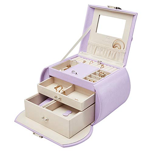 Vlando Mirrored Jewelry Box Organizers for Girls Women, Faux Leather Necklaces Earrings Rings Watch Storage Case (Purple)