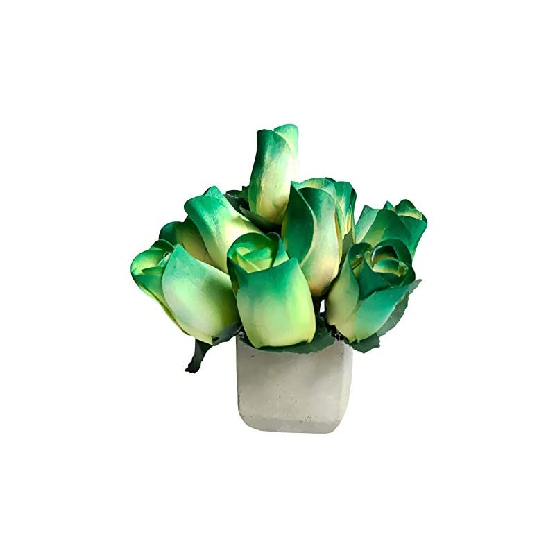 silk flower arrangements green fake roses scented wooden flowers 13 pc artificial rose flower bouquet in cement pot with refresher spray