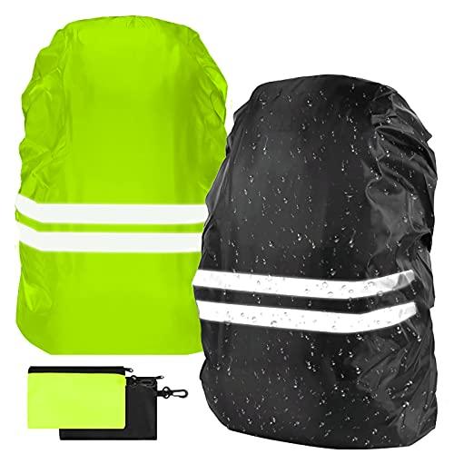 flintronic 2Pcs Funda Impermeable para Mochila 18~30L Fundas Universales para Lluvia con Banda Reflectante para Lluvia, Nieve, Caminatas nocturnas, equitación, Actividades al Aire Libre